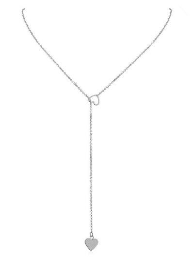 Heart Shape Hollow Lariat Necklace - Silver