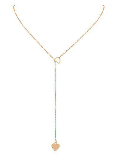 Heart Shape Hollow Lariat Necklace - Gold