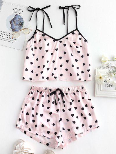 29f42d0d8 Conjunto De Pantalones Cortos De Pijama Sedoso Corazón - Multicolor-a L ...