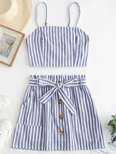 ZAFUL Smocked Striped Top And Belted Skirt Set - Light Blue L