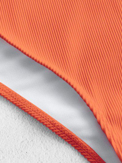 ZAFUL Ruffle Textured Ribbed Tankini Set, Pumpkin orange