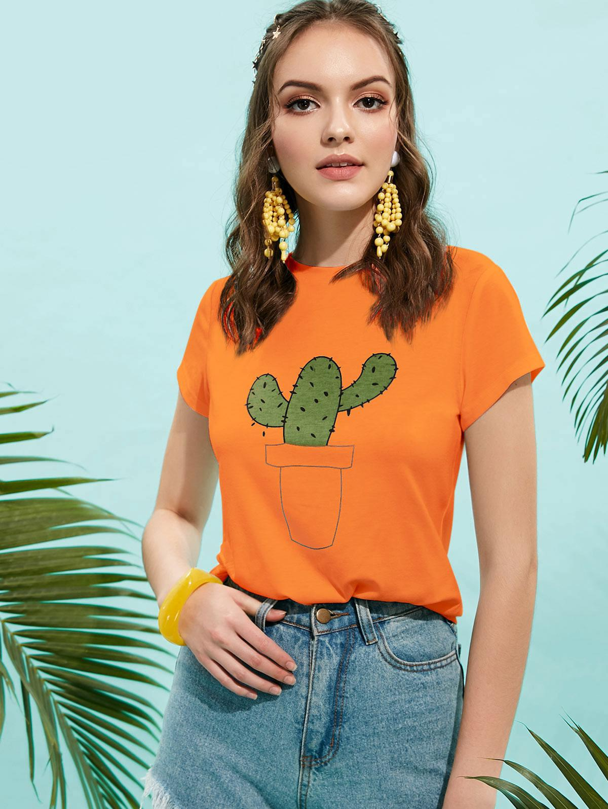 ZAFUL Base di Cactus Graphic Tee