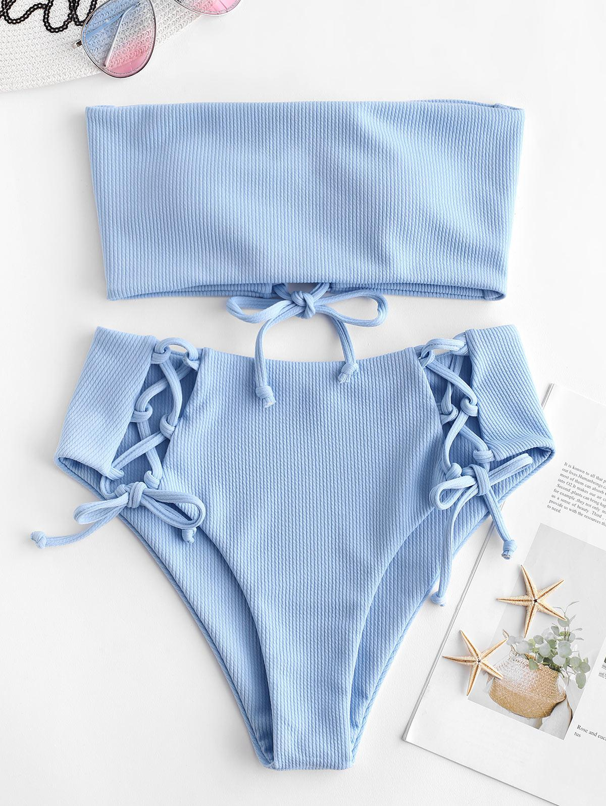 ZAFUL Lace Up Ribbed Strapless Bikini Set фото