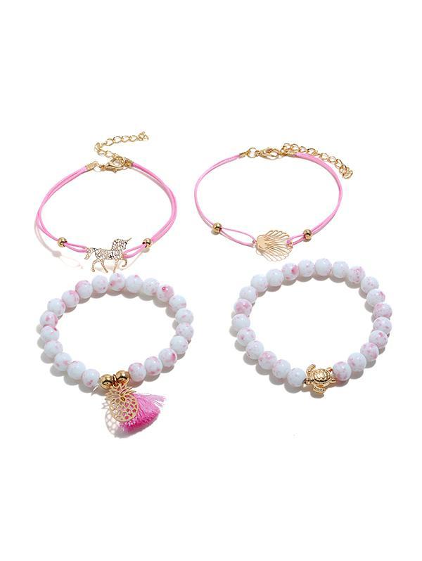 4Pcs Hollow Unicorn Shell Bracelet Set