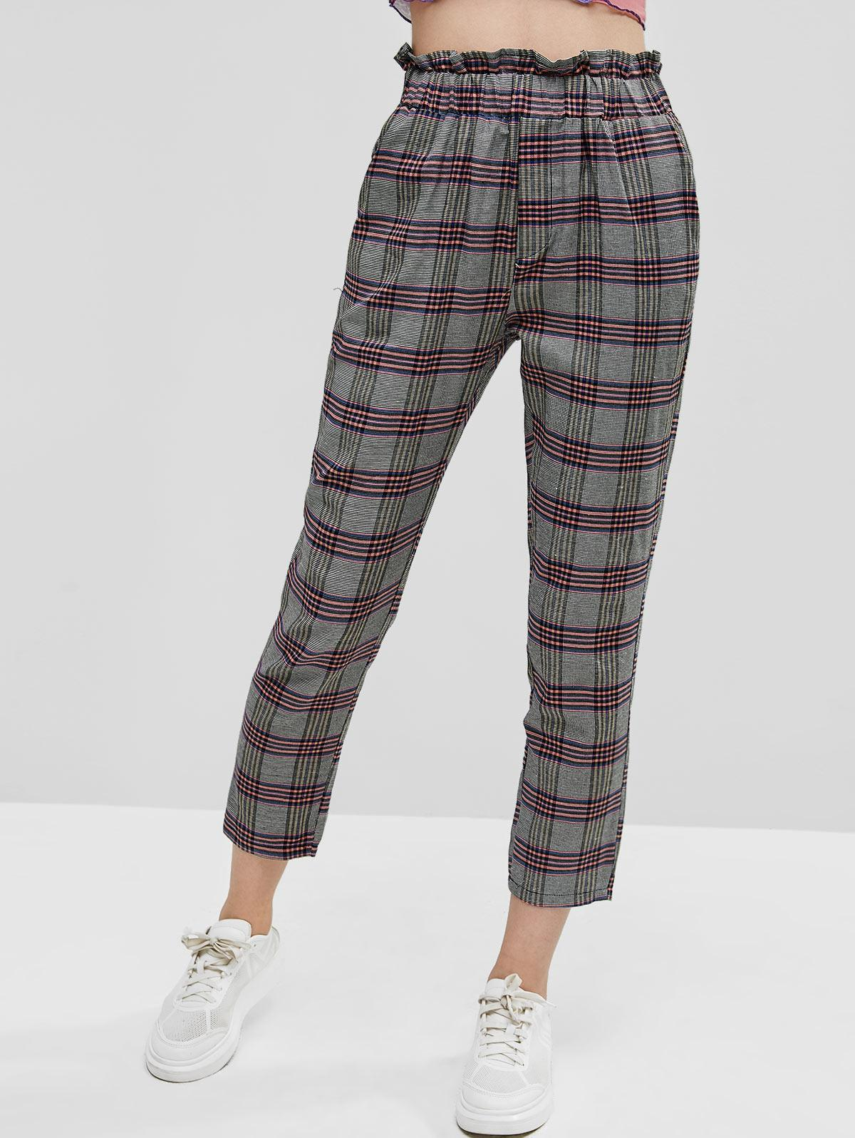 High Waisted Pockets Plaid Paperbag Pants, Multi-a