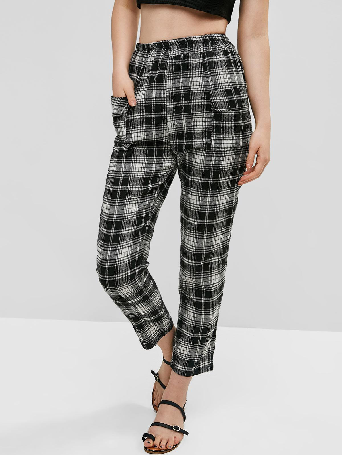 Patched Pockets Plaid High Waisted Straight Pants, Multi-a