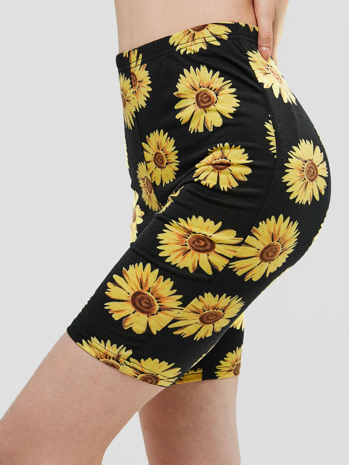 ZAFUL High Waisted Sunflower Biker Shorts, Black
