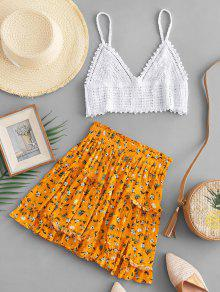 ZAFUL Crochet Cami Top And Floral Skirt Set - White