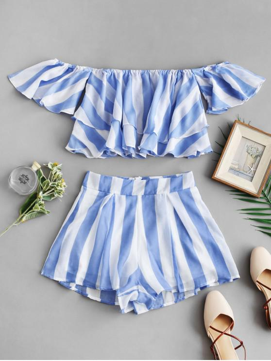 fancy Off Shoulder Striped Layered Crop Top With Shorts - LIGHT SKY BLUE M