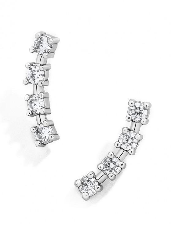 outfits Geometric Diamante Stud Earrings - SILVER