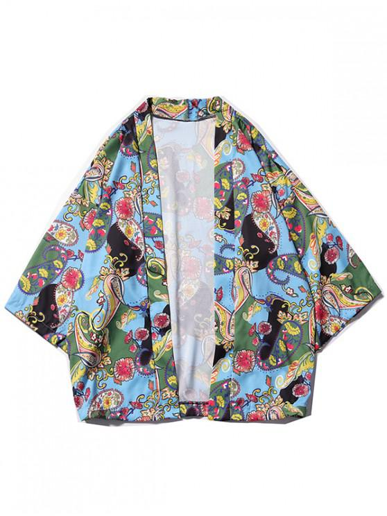 lady Floral Paisley Print Kimono Cardigan - MULTI-G M