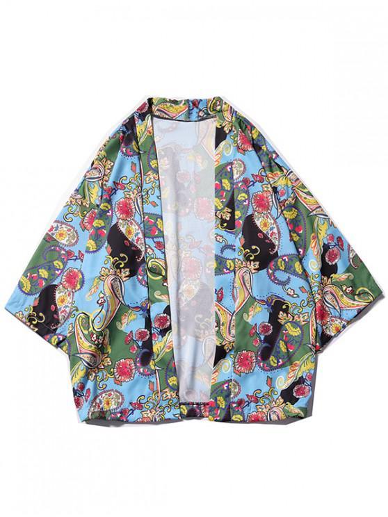 Kimono-Strickjacke mit Blumenmuster und Paisleymuster - Multi-G XL