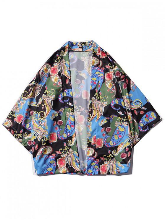 Kimono-Strickjacke mit Blumenmuster und Paisleymuster - Multi-P L