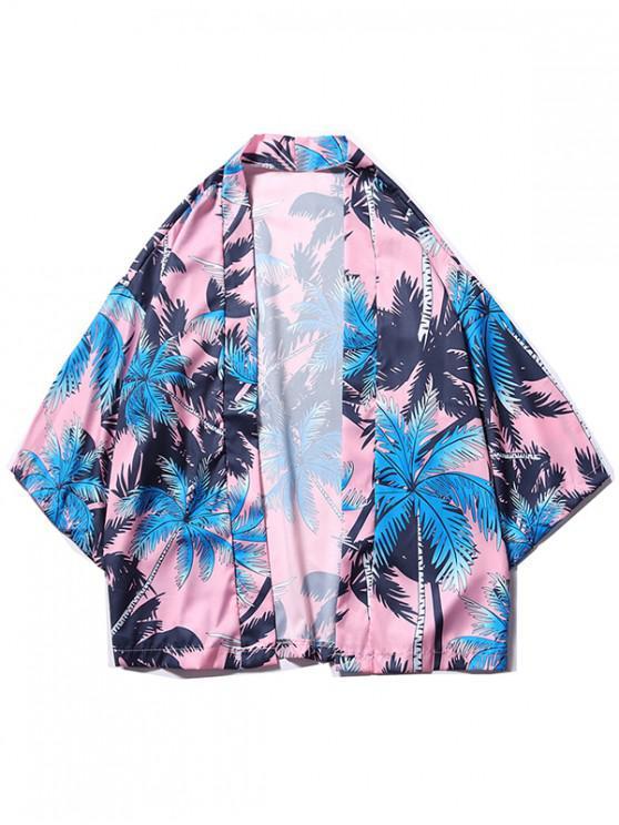 latest Coconut Tree Print Beach Kimono Cardigan - POWDER BLUE L