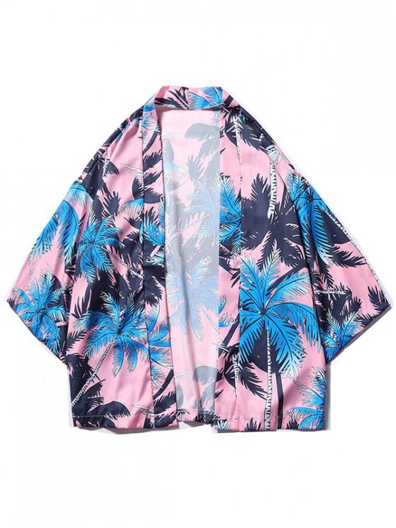 fashion Coconut Tree Print Beach Kimono Cardigan - POWDER BLUE 2XL