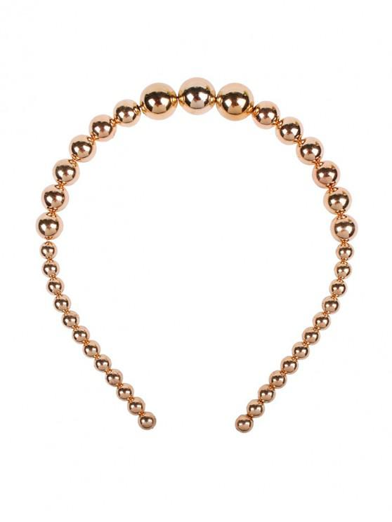 buy Round Faux Pearl Beads Headband - GOLD