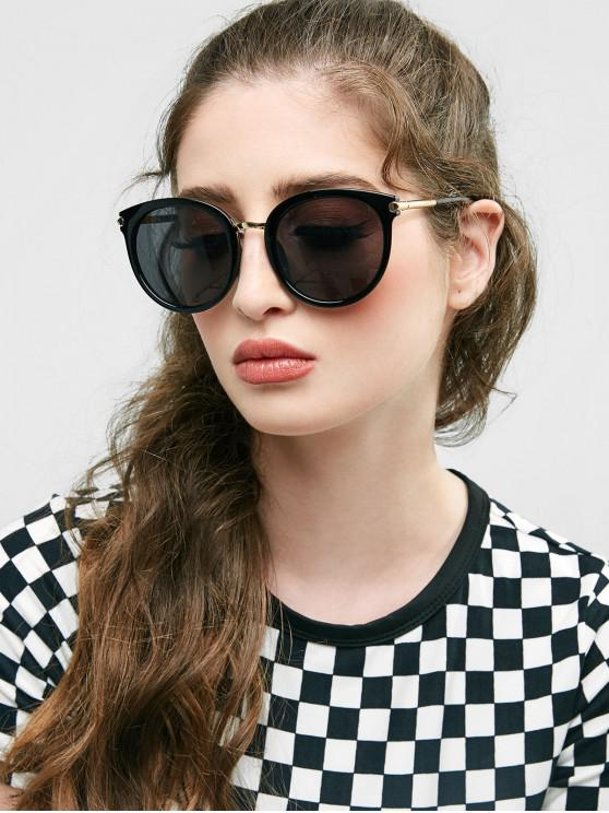 trendy Round European American Young Style Sunglasses - BLACK
