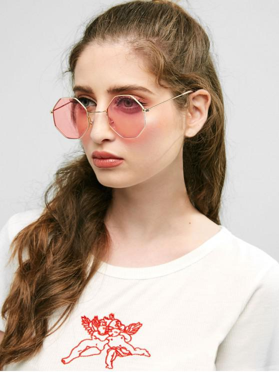 trendy Geometric Metal Sunglasses - LIGHT PINK