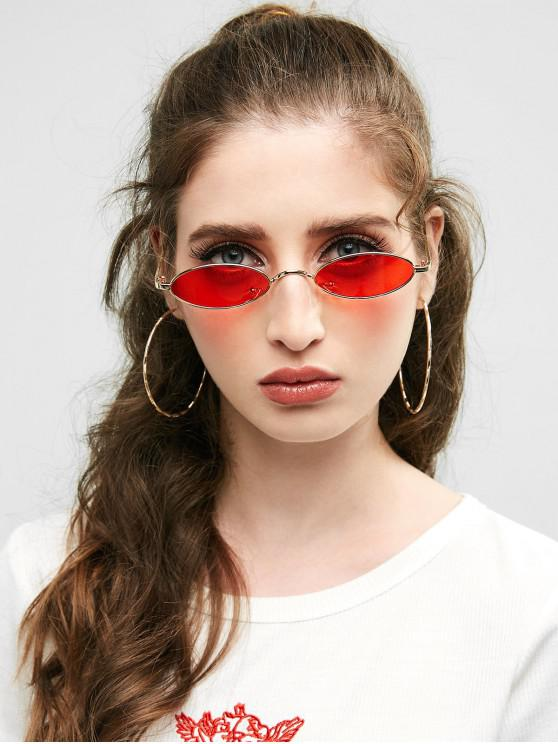 fancy Unique Metal Full Frame Oval Sunglasses - DEEP RED