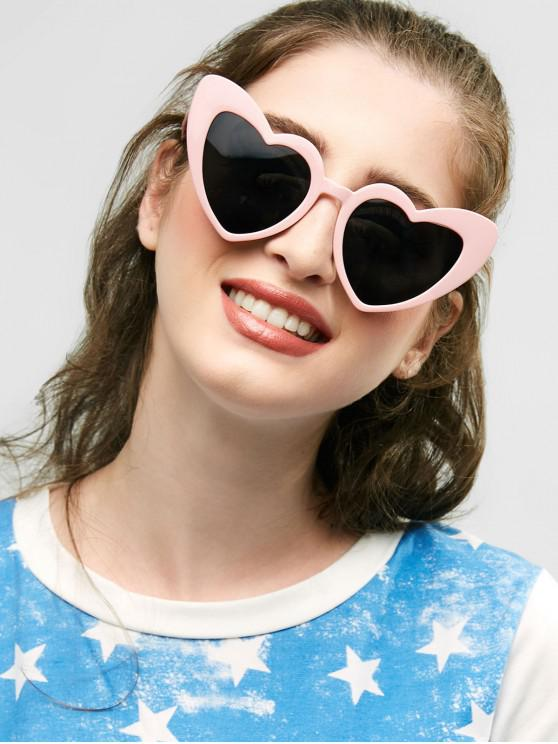 unique Heart Shape Sunglasses - BLACK AND PINK