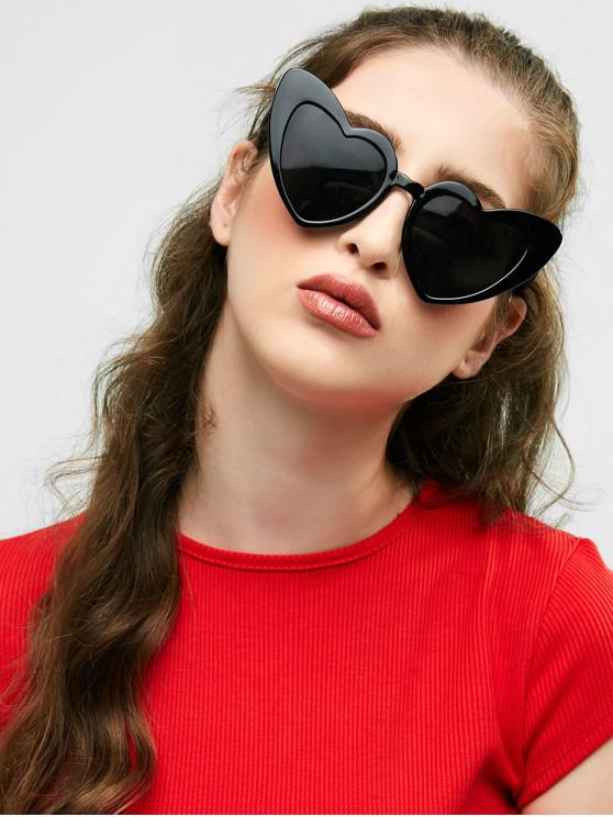 fancy Heart Shape Sunglasses - BRIGHT BLACK+GREY