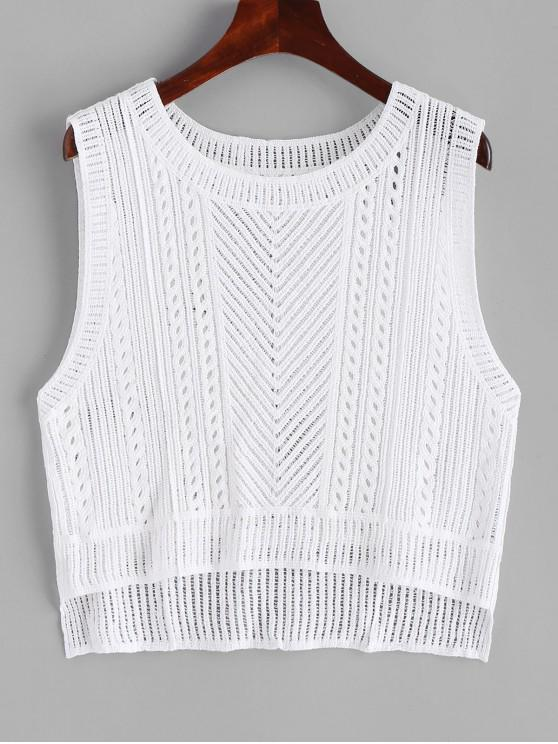 Crochet High Low Cover Up Top - Blanco Talla única