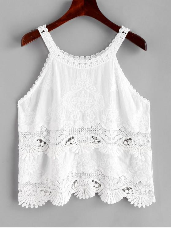 Crochet Cutaway Cover Up Top - Blanco Talla única