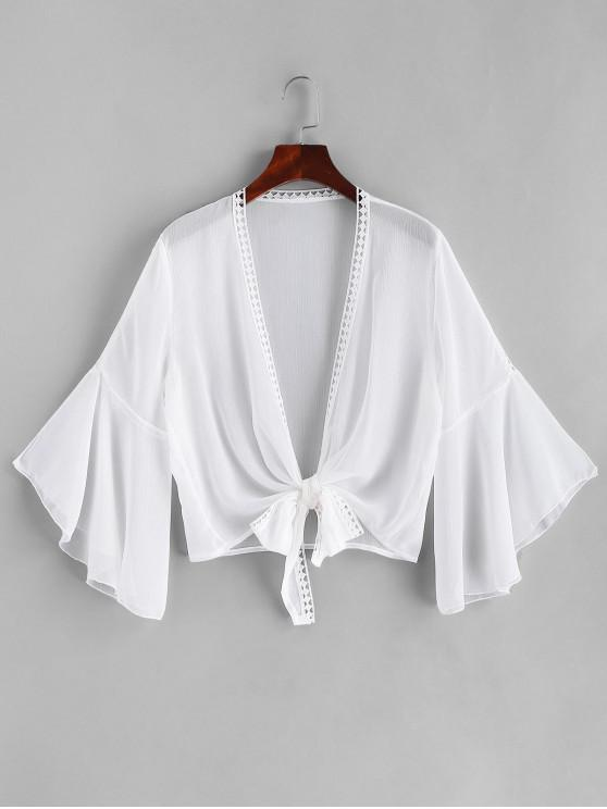 Ganchillo recortar corbata dobladillo manga de la manga cubierta - Blanco Talla única