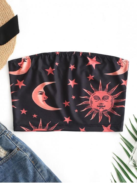 Top Bandeau Soleil Et Lune Etoile - Noir S