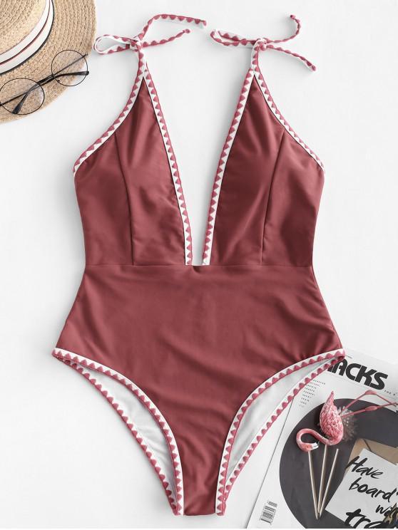 ZAFUL Badeanzug mit Besticktem Rückenausschnitt - Kastanie Rot S