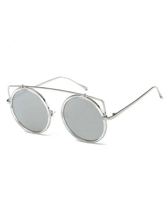 ladies Vintage Bar Round Sunglasses - SILVER