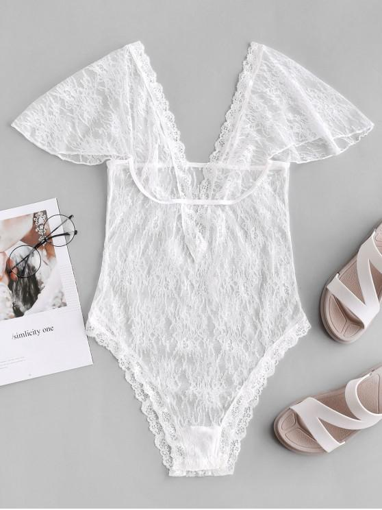 ladies Low Cut See Through Lace Teddy - WHITE S