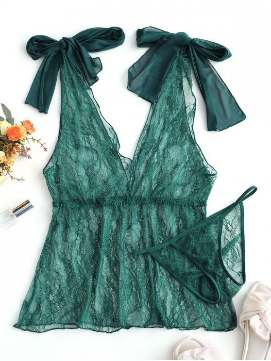 unique Bowknot Lace Plunging Lingerie Babydoll - GREENISH BLUE ONE SIZE