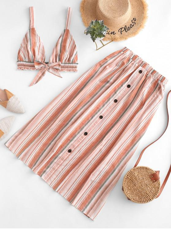 trendy ZAFUL Striped Backless Top and Buttons Skirt Set - MULTI L
