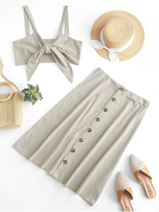outfit ZAFUL Knotted Button Fly Two Piece Dress Set - WARM WHITE M
