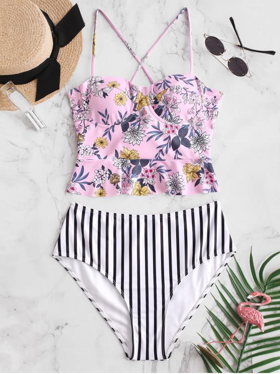 shops ZAFUL Lace Up Floral Striped Peplum Tankini Set - LIGHT PINK XL