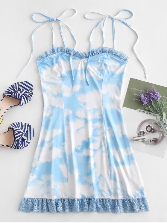 Vestido Cami Tie Dye Con Panel De Encaje - Azul Cristal M