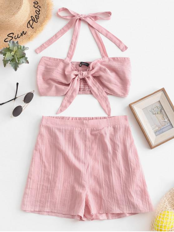 womens ZAFUL Smocked Knotted Halter Top and Shorts Set - PINK S