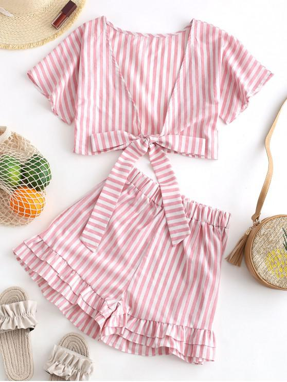 fashion Striped Knotted Top and Layered Shorts Set - PIG PINK XL