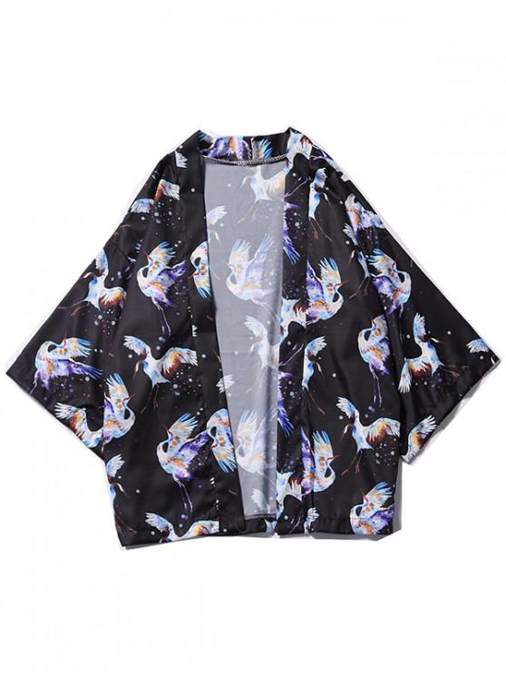 fancy Dots Flying Crane Painting Print Kimono Cardigan - BLACK L