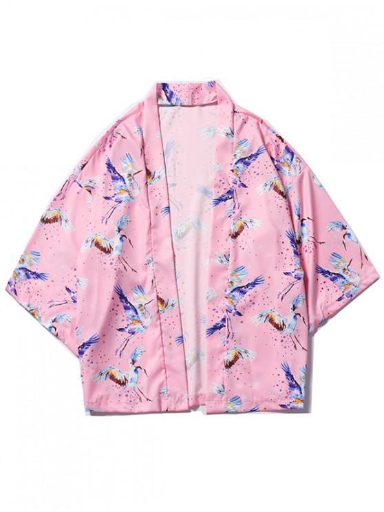 women Dots Flying Crane Painting Print Kimono Cardigan - PIG PINK 2XL
