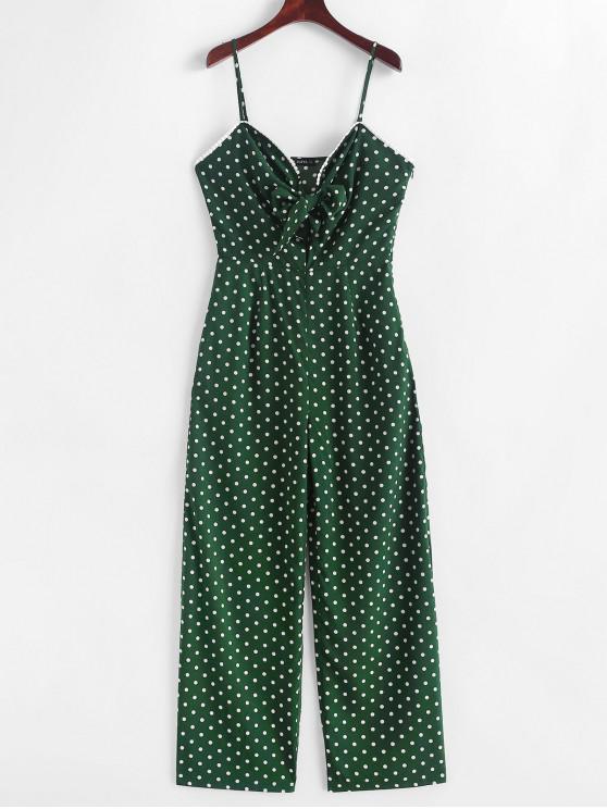 unique ZAFUL Polka Dot Tie Front Cami Jumpsuit - MEDIUM SEA GREEN S