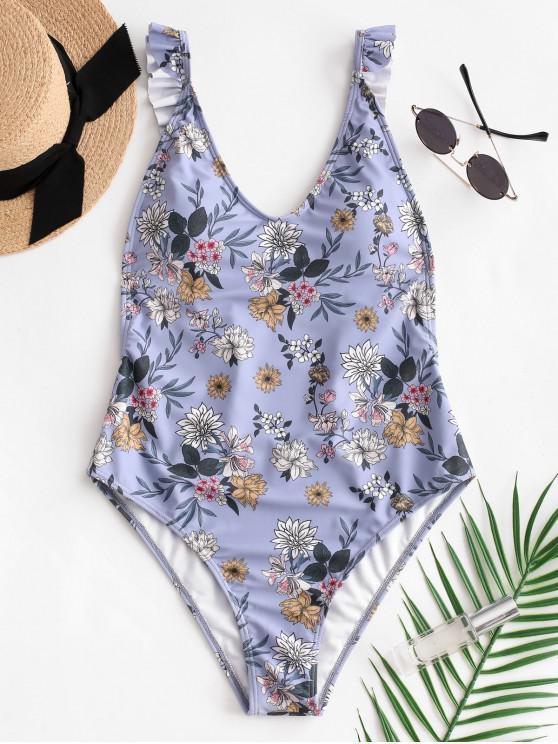 chic ZAFUL Flower Ruffle Backless Swimsuit - BLUE GRAY L