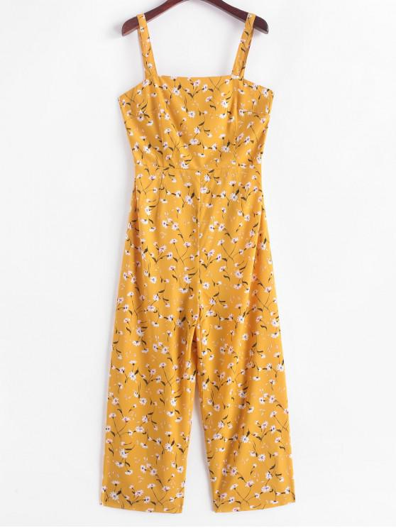 affordable ZAFUL Floral Print Smocked Wide Leg Jumpsuit - YELLOW M