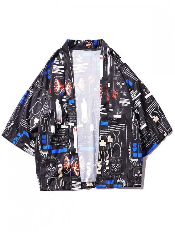 Cardigan Kimono ample imprimé graphique - Noir L