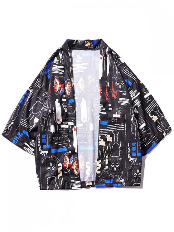 women's Graphic Allover Print Loose Kimono Cardigan - BLACK 2XL