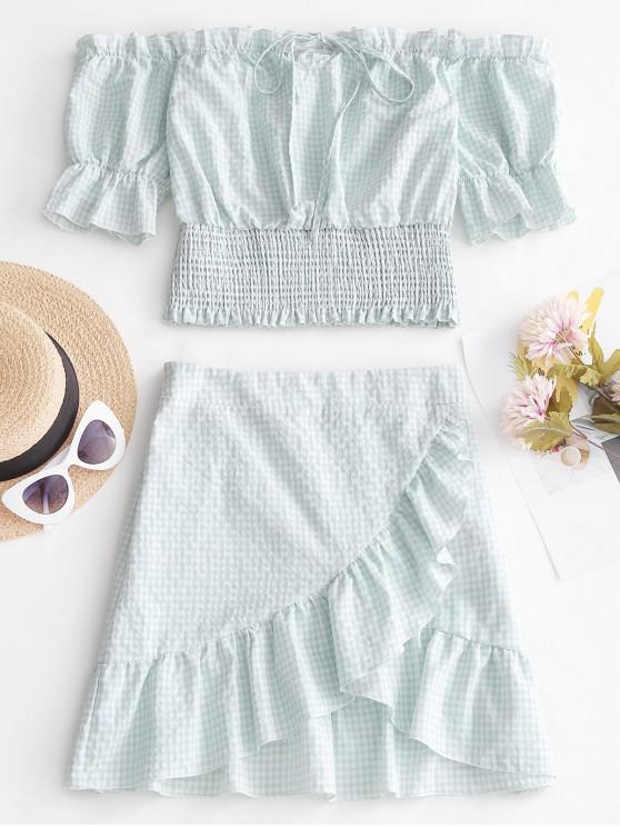 affordable ZAFUL Plaid Ruffle Smocked Skirt Set - PALE BLUE LILY S