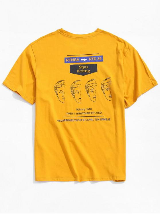 trendy Funny Graphic Letter Print Casual T-shirt - YELLOW S