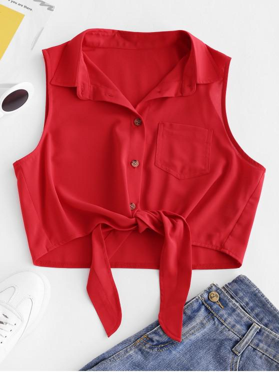 best ZAFUL Button Up Pocket Tie Front Tank Top - LAVA RED L