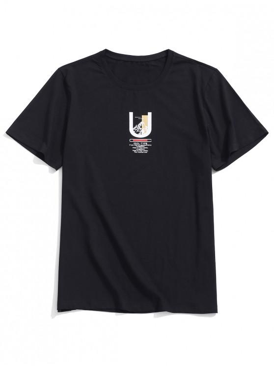 new U Shape Letter Print Graphic T-shirt - BLACK XS